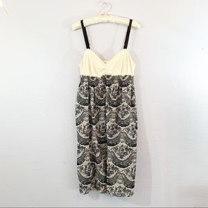 Eloise Anthropologie Slip Dress Ivory Gray Paisley